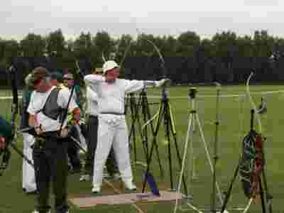 picture showing a visually impaired archer who has the capability to use a bowsight.